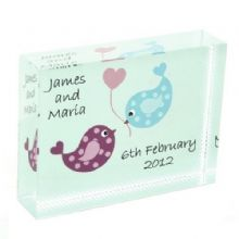 Love Birds Crystal - Personalised Wedding,  Anniversary or Valentine's Day Keepsake Gift
